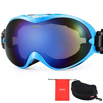 a18ad1d5f506 Gonex Adult Ski Goggles Snow Snowboard Goggles Blue Lens Blue Frame   Amazon.ca  Sports   Outdoors