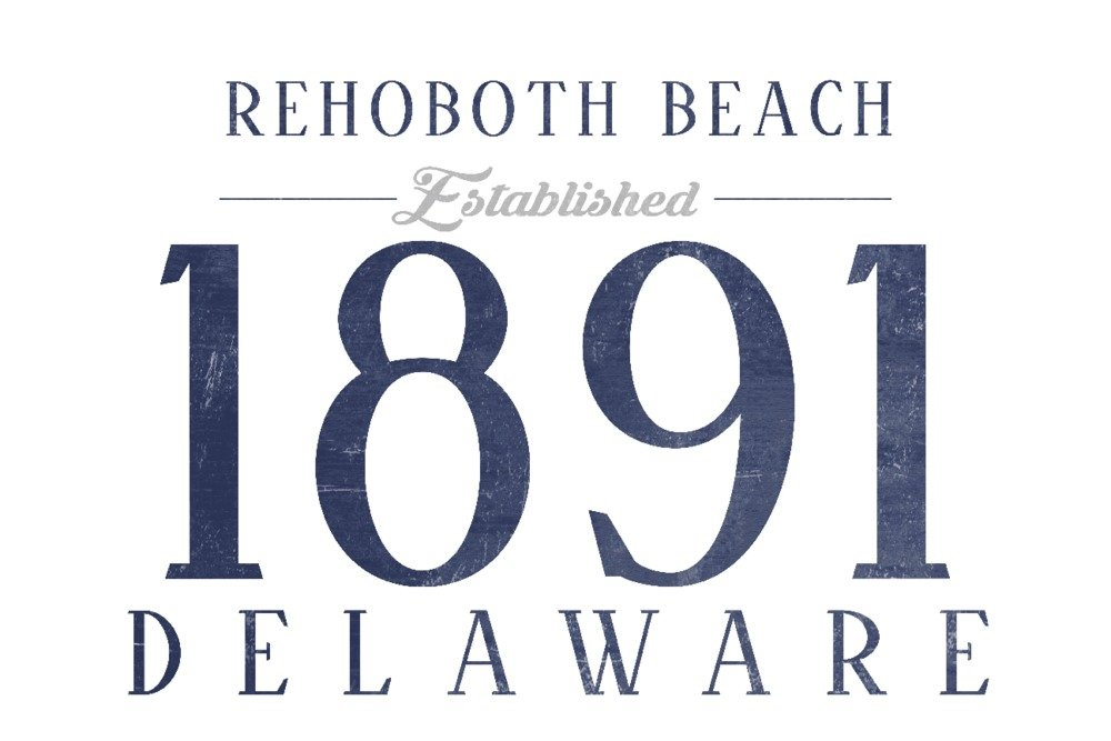 レホボトビーチ、デラウェア州 – Established日付(ブルー) 36 x 54 Giclee Print LANT-68379-36x54 B01MG44AOR  36 x 54 Giclee Print