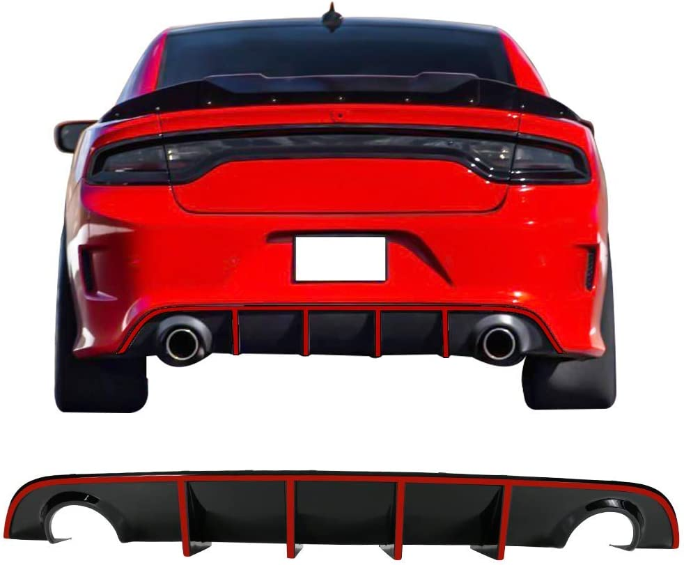 V3 Style Rear Diffuser with White Reflective Tape IKON MOTORSPORTS Bumper Lip Compatible With 2015-2020 Dodge Charger SRT