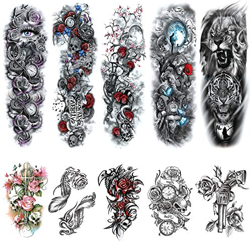 Full Arm Temporary Tattoos Sleeves for Women Men Large Body Art Fake Tattoo Stickers Realistic Shoulders Chest Back Tattoo Black Skull Rose Lion Waterproof Temp Tattoo Sleeve (10 Sheets)]()