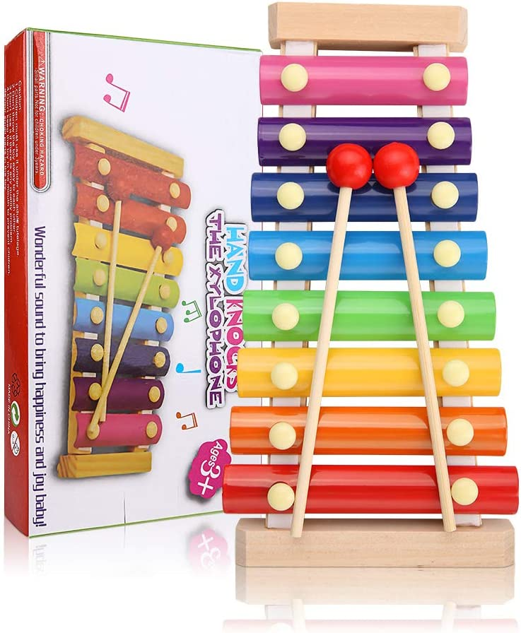 Comius Sharp Xilófono Juguetes para Niños, Xilófono Juguetes Musicales Xilófono de Madera Instrumento Musical de Percusión, con Mazo de Madera, para Regalos Cumpleaños de Niño