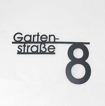 Design 2 Hausnummernschild mit Straßenname oder Familienname Namensschriftzug