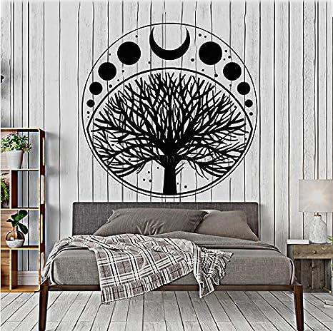 Fases de la luna Ciclo Árbol de la vida Símbolo Etiqueta de vinilo ...