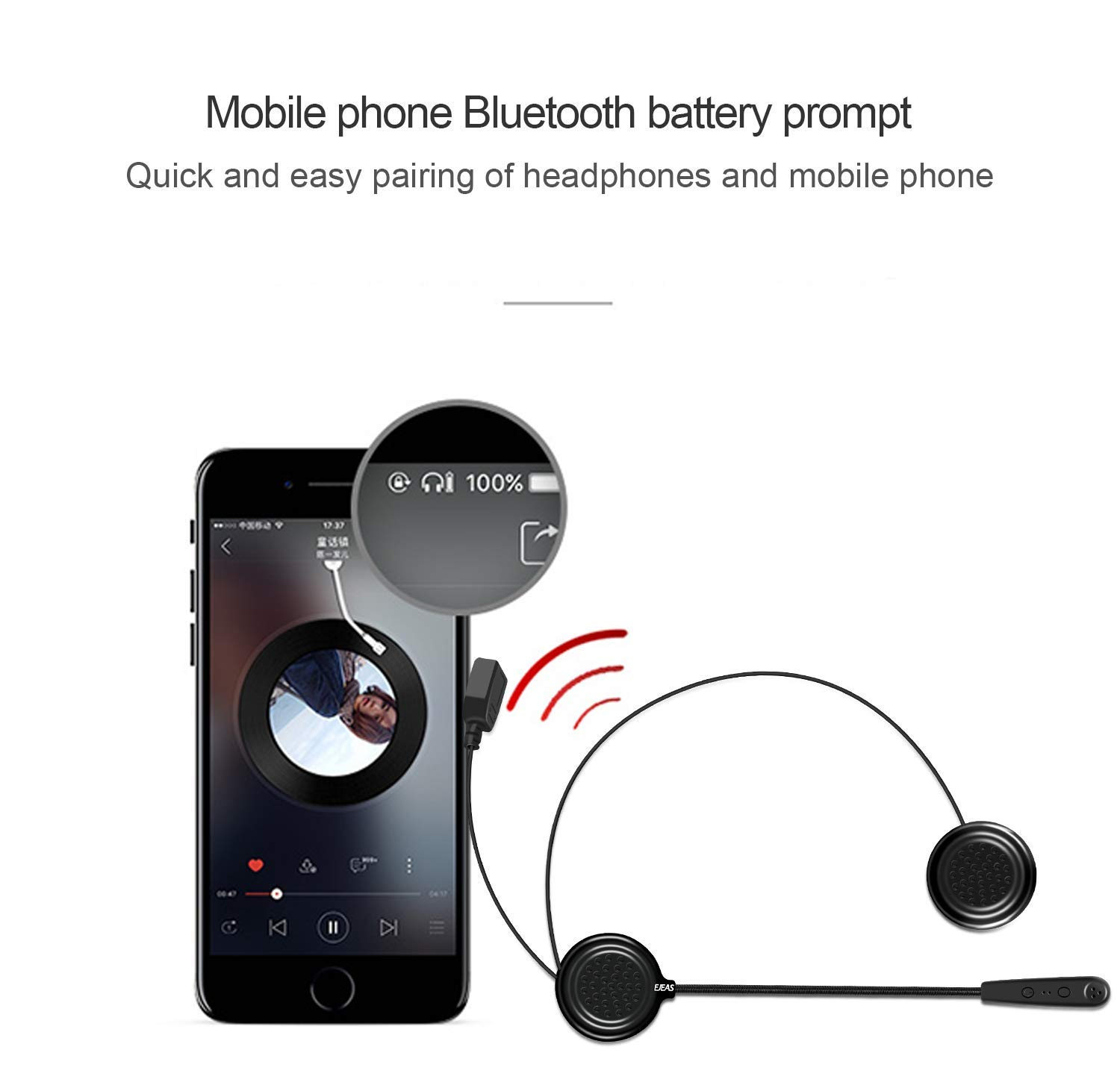 XUEM Helmet Bluetooth Intercom Motorbike Communication System Interphone Headset Great for Riding,Skiing