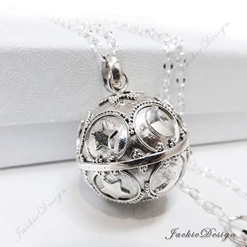 Amazon 20mm large moon star sterling silver harmony ball aka 20mm large moon star sterling silver harmony ball aka mexican bola 30quot chain necklace ls87 aloadofball Image collections