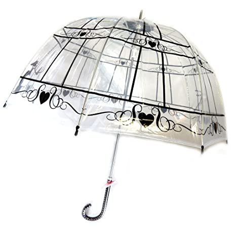 Paraguas de caña de campana Lollipopsnegro transparente (cat)- ...