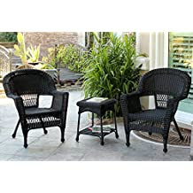 Jeco W00207_2-CES 3 Piece Wicker Chair and End Table Set without Cushion, Black