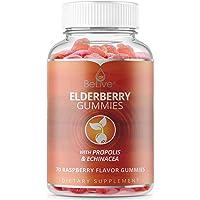 Elderberry Gummies with Vitaminc C, Propolis, Echinacea. Max Strength 200MG - Sambucus Black Elder Immune Support for Adults & Kids | Raspberry - 70 Count