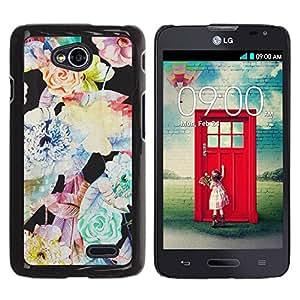 Be Good Phone Accessory // Dura Cáscara cubierta Protectora Caso Carcasa Funda de Protección para LG Optimus L70 / LS620 / D325 / MS323 // Flower Vignette Art Pattern Pastel