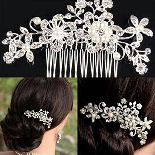 JWBOSS Bridal Rhinestone Crystal Diamante Wedding Flower Leaf Pearls Hair Comb Clip