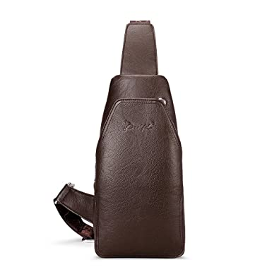 41e7606aae Image Unavailable. Image not available for. Color  DEELFEL Men Sling Bag  with Wallet Leather Crossbody Bags Lightweight Chest Bag Fashion Messenger  ...