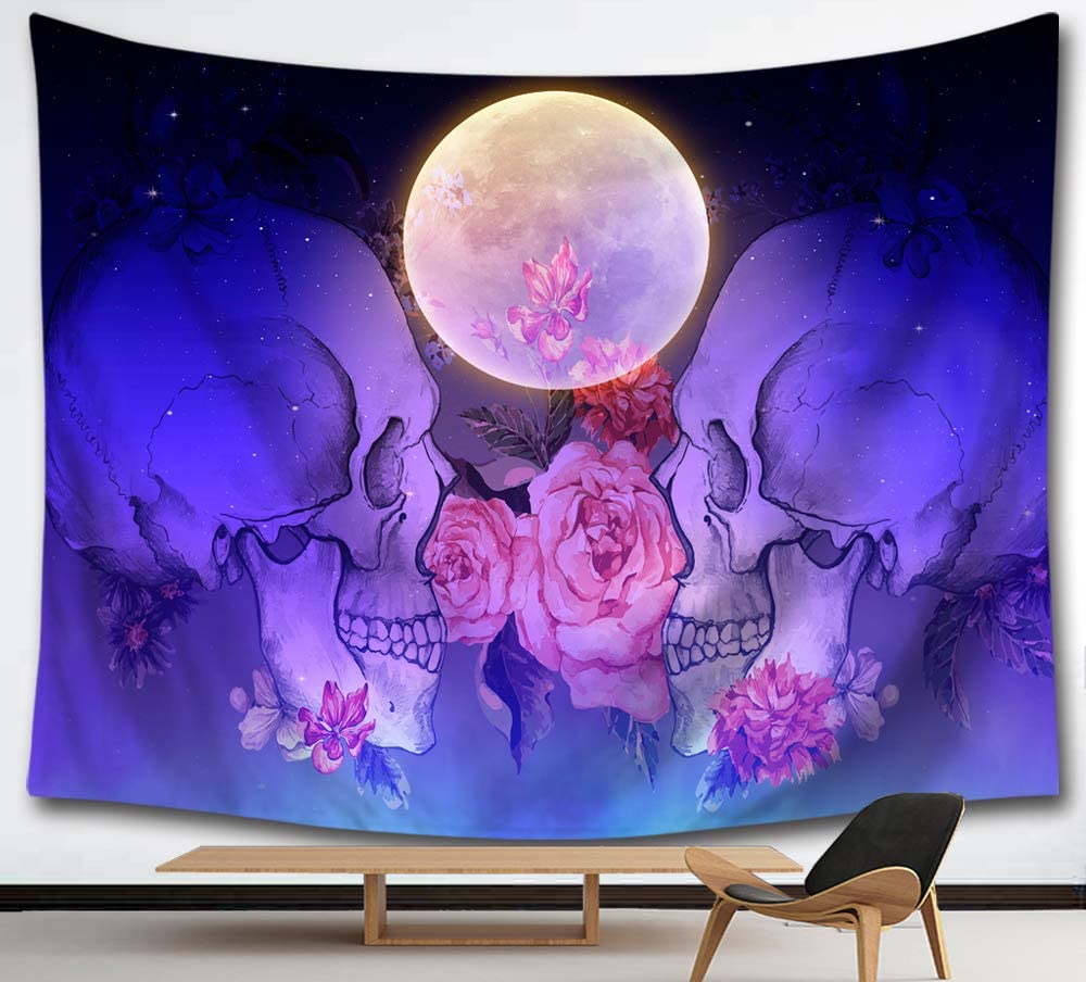 HMWR Suger Skull Tapestry Wall Hanging Pink Flowers Tapestry Bright Moon Midnight Sky Sea Ocean View Dreamy Mystic Collage Dorm Beach Throw Wall Decor 60x51 Inches,Purple Blue