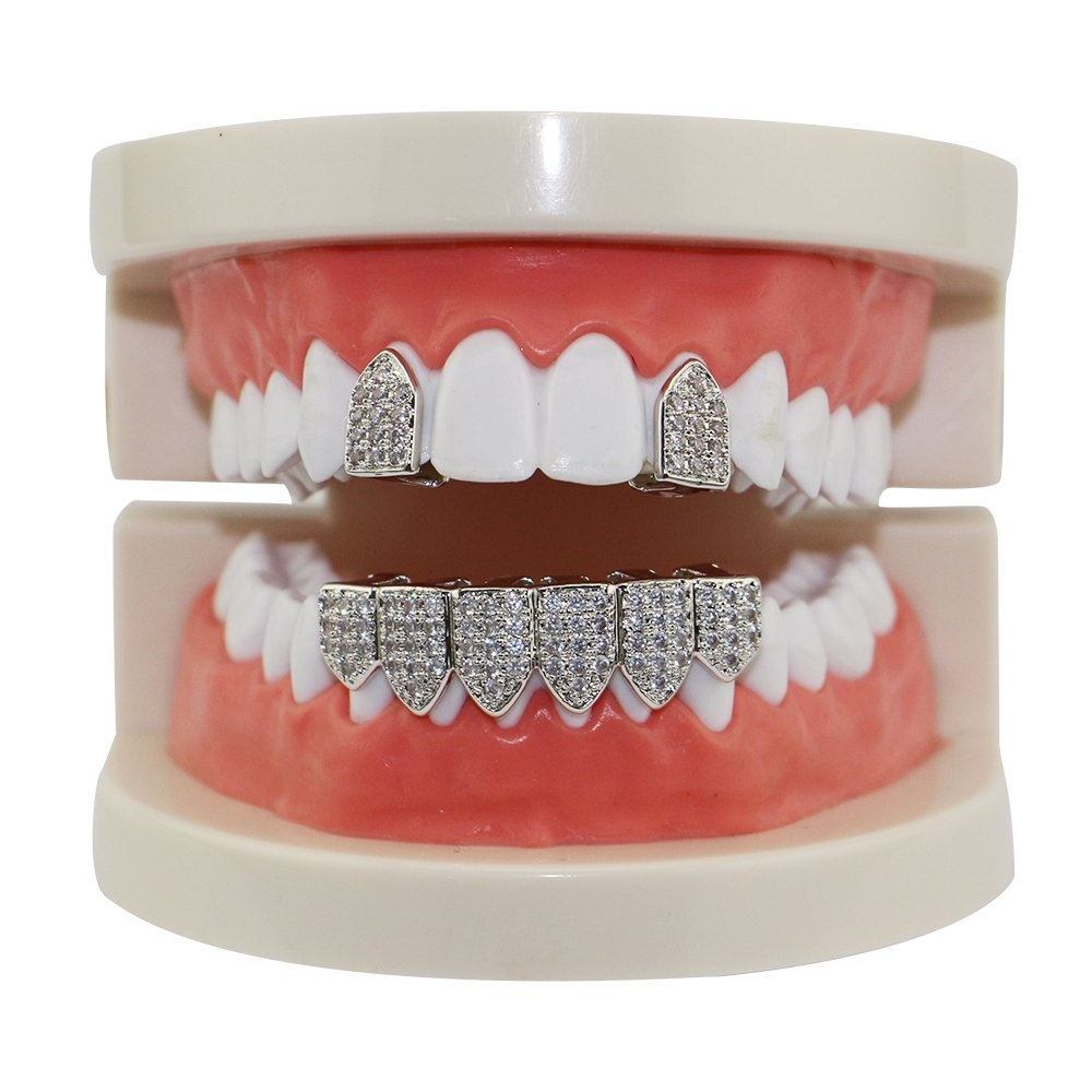 Silver Pave Full CZ Grillz 2 pc Single Top and 6 Bottom Teeth Set (Silver)