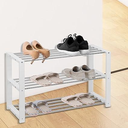 3 Nivel Zapatero Estante Soporte Organizador Casero Para Almacenamiento De  Zapatos De Madera Y Acero