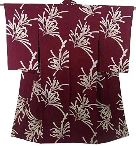 アンティーク 着物 綸子 松の意匠 正絹 袷 裄62.5cm 身丈150cm