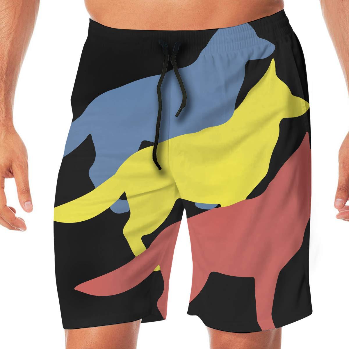 Mens Vintage Shepherd Dog Boardshorts Beach Pants No Mesh Lining