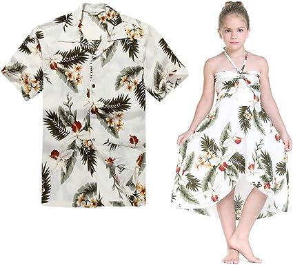 Combinación Hawaiana Luau Outfit Hombre Camisa Chica Vestido ...