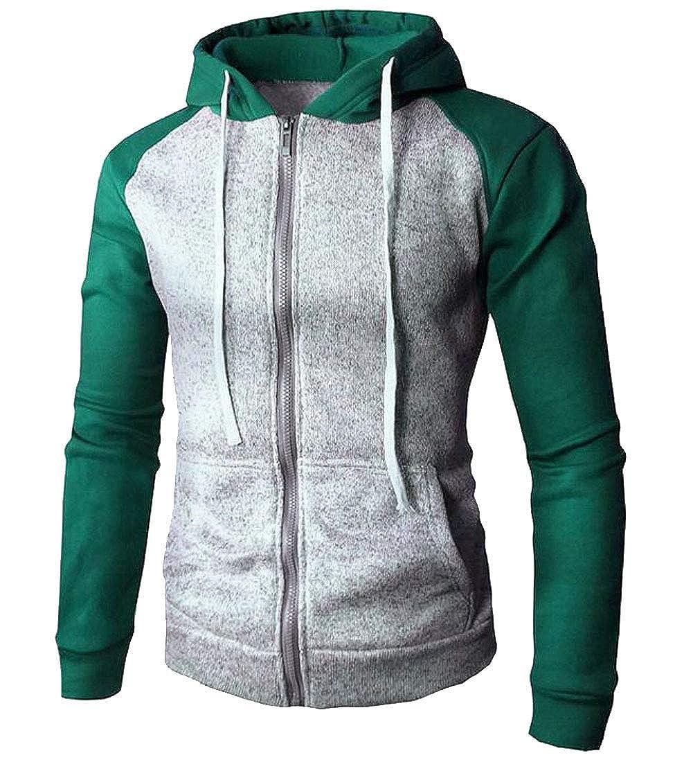 Zantt MensAthletic Color Block Jackets Zip Front Sweatshirts with Hood