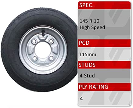 """NEW Pair of Trailer Wheels /& Tyres 145 R10 4 ply 4 Stud 4/"""" PCD FREE DEL"""