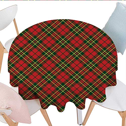 Plaid Logo Elastic Flannel - longbuyer Checkered Oval Tablecloth Irish Tartan Plaid Motifs in Christmas Colors Geometrical Crossed Stripes Picnic Table Tablecloth 36