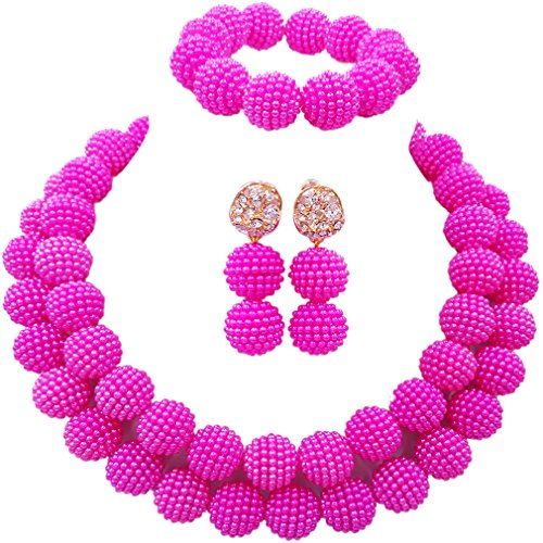 laanc Womens 2 Rows Colour Imitation Pearl Plastic Ball African Beads Nigerian Gift Wedding Jewelry Sets (Hot Pink)