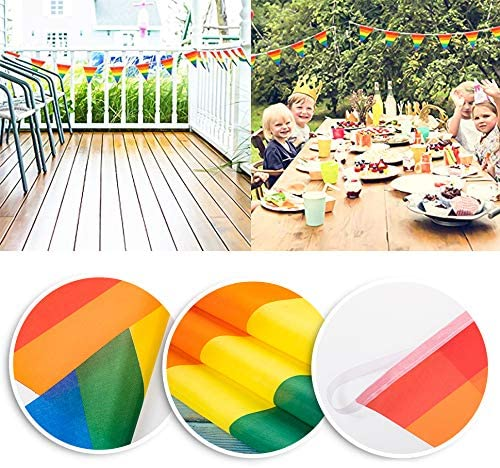 INHEMI Rainbow Pennant Banner Gay Pride Flag Banner with 30 Pcs Triangle Flags for Indoor Outdoor Decoration(9 M)