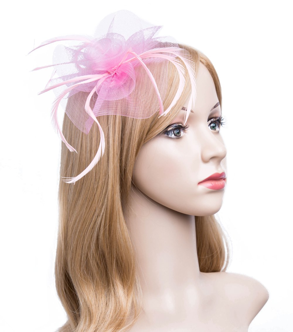 Kathyclassic Fascinator Hats for Women Feather Cocktail Party Hats Bridal Kentucky Derby Headband (Z-Pink)