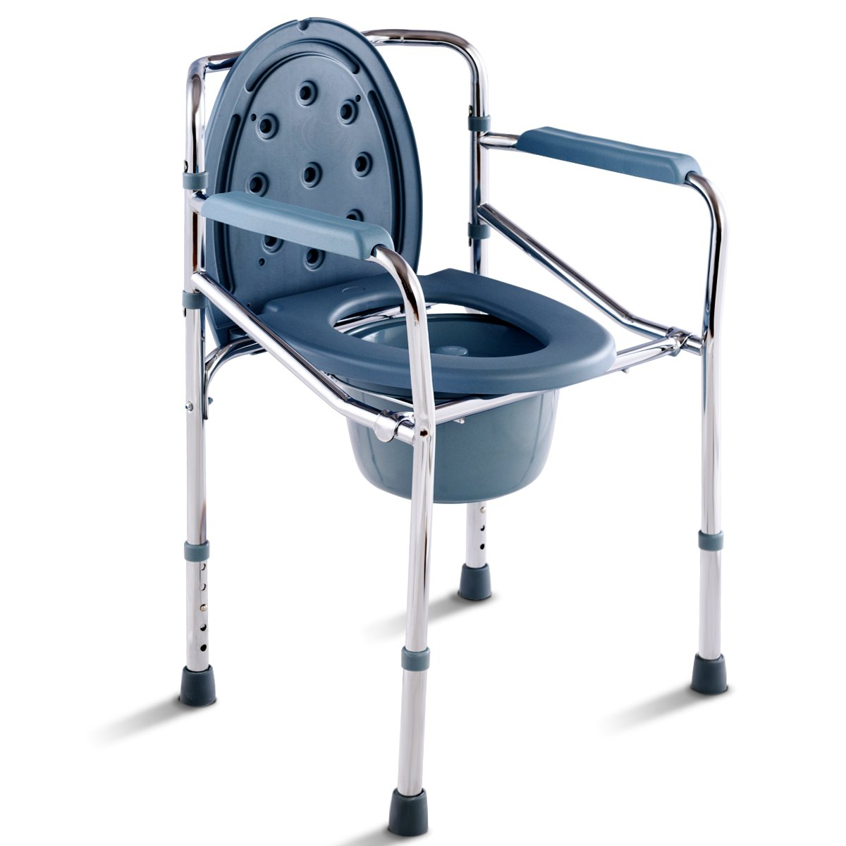 Giantex Adjustable Folding Bedside Commode Portable Medical Toilet Seat Chair for Elderly, Handicap, Seniors Large Capacity Lightweight Disability Aid Chair w/Armrest Removable Bucket, Lid Cover Chro by Giantex