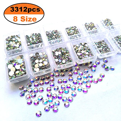 Queenme 3312pcs Nail Crystals Flatback AB Nail Art Rhinestones Round Beads Mix 1.3mm-4mm Glass Charms Gems Stones for Nails Decorations Crafts Eye Makeup Clothes Shoes SS3 SS5 SS6 SS8 SS10 SS12 SS16
