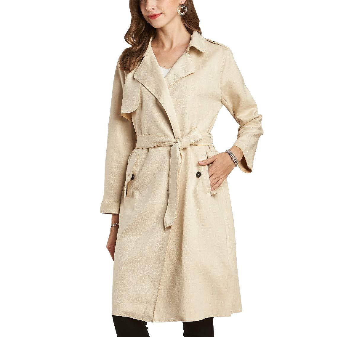 NOBLEMOON Women's Lapel Trench Coat Longline Raincoat Pea Coat with Belt