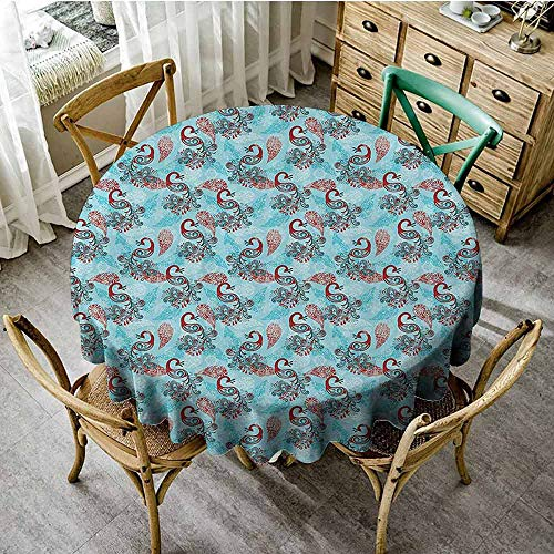 SEMZUXCVO Multicolor Round Tablecloth Peacock Decor Feel Comfortable Peacocks and Snowflakes Classic Traditional Patterns Crystal Christmas Seasonal D43 from SEMZUXCVO