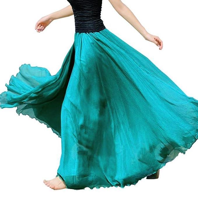 save off 36323 3a25f Rcool Casual elastische Taille Chiffon Rock lange Maxi Strandkleid für  Frauen Damen (Grün)