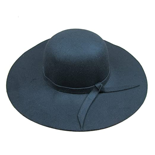 Dis show Women Retro Wool Blend Sun Hat Floppy Wide Brim Summer Beach Hat ( Black) 63a6ab54a79