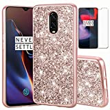 OnePlus 6T Case, 1+6T TPU Case with HD Screen Protector, I VIKKLY Ultra Slim Glitter Bling Shiny Sparkle Rhinestone Gel TPU Silicone Shockproof Protective Case Cover for OnePlus 6T (2018) (Rose Gold)