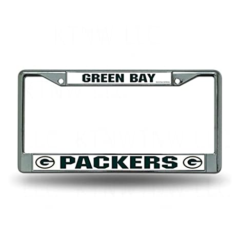 Amazon.com : Green Bay Packers Metal Chrome License Plate Tag Frame ...