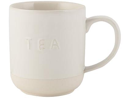 Taza de gres para té, rústica con Texto en Relieve Sobre Fondo Blanco; de