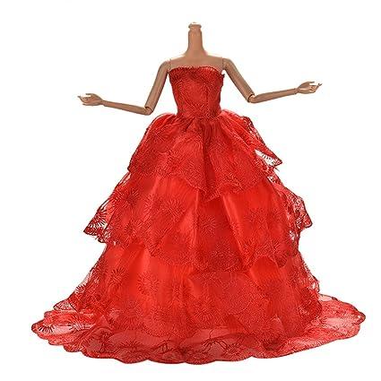 Jiaufmi 1x Red Princess Rapunzel Party Dress Costume Wedding Gown Dress For Cinderella Snow White Dolls
