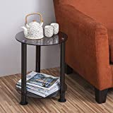 Fitueyes Grey Glass End Table Accent Side desk Coffee Table Storage Organizer DT203801GT