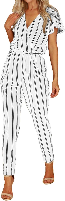 VONDA Jumpsuit Damen Elegant Sommer Overall V-Ausschnitt Kurzarm Einteiler Playsuit mit Bindeg/ürtel