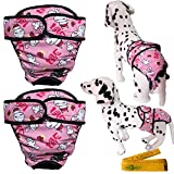 Washable Adjustable Reusable Dog Pet Diapers Cover Up Sanitary Panties with Velcro Closure for Female Girl Dogs, 2 Pack (Large, Pink)