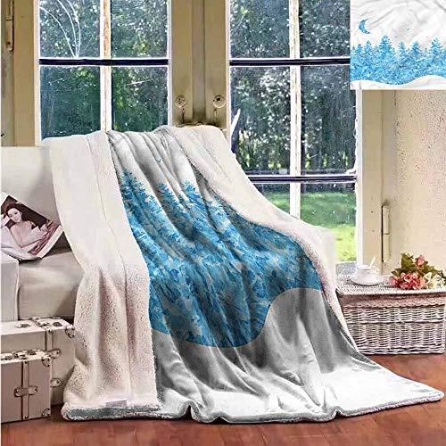 Sunnyhome Wool Blanket Modern Fairy Tale Winter Forest Luxurious Plush Blanket W59x47L