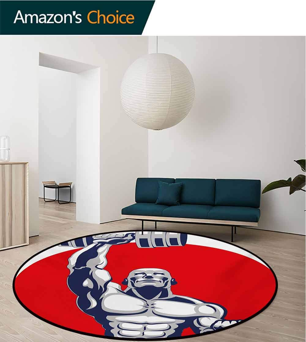 RUGSMAT Fitness Non-Slip Area Rug Pad Round,Muscular Man Lifting Barbells Body Builder Icon Strength Work Out Powerful Protect Floors While Securing Rug Making Vacuuming,Diameter-47 Inch