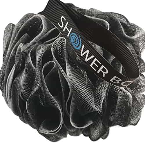 Loofah Charcoal Bath Sponge XL 75g Set by Shower Bouquet: 4 Pack, Extra Large Mesh Pouf Soft Scrubber for Men and Women - Exfoliate with Big Black & White Gentle Cleanse in Beauty Bathing Accessories
