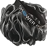 Loofah Charcoal Bath Sponge XL 75g Set by Shower Bouquet: 4 Pack, Extra Large Mesh Pouf Scrub for Men and Women - Exfoliate with Big Black & White Gentle Cleanse in Beauty Bathing Accessories