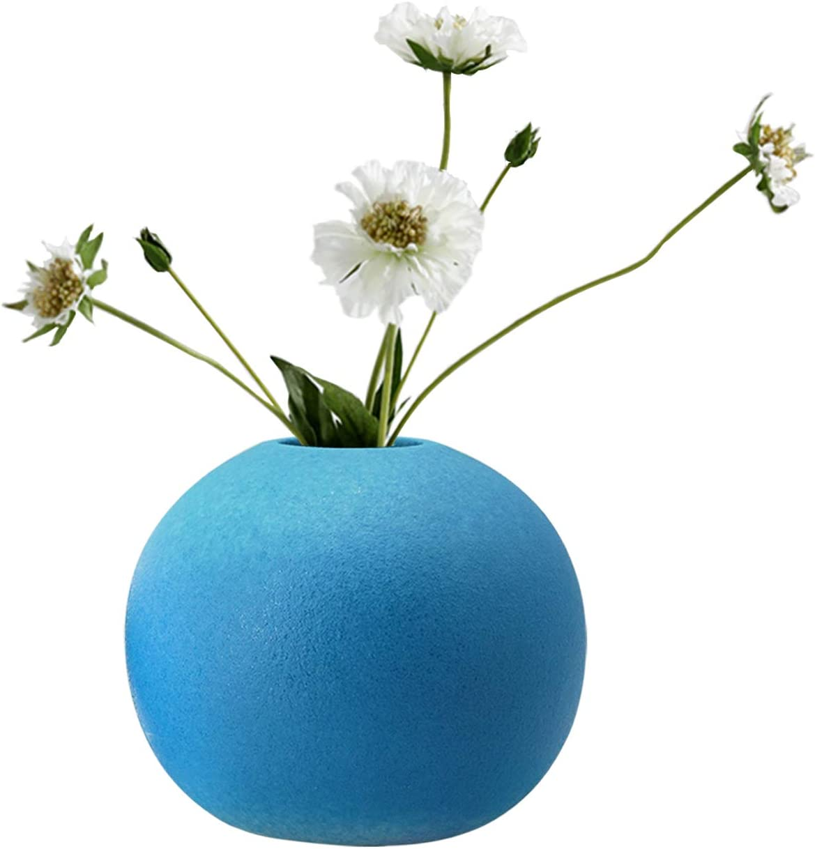 Amazon Com Gelive Small Round Ceramic Bud Vase Decorative Flower Vase Hydroponics Container Reed Diffuser Floral Vases For Home Decor Centerpieces Blue Home Kitchen