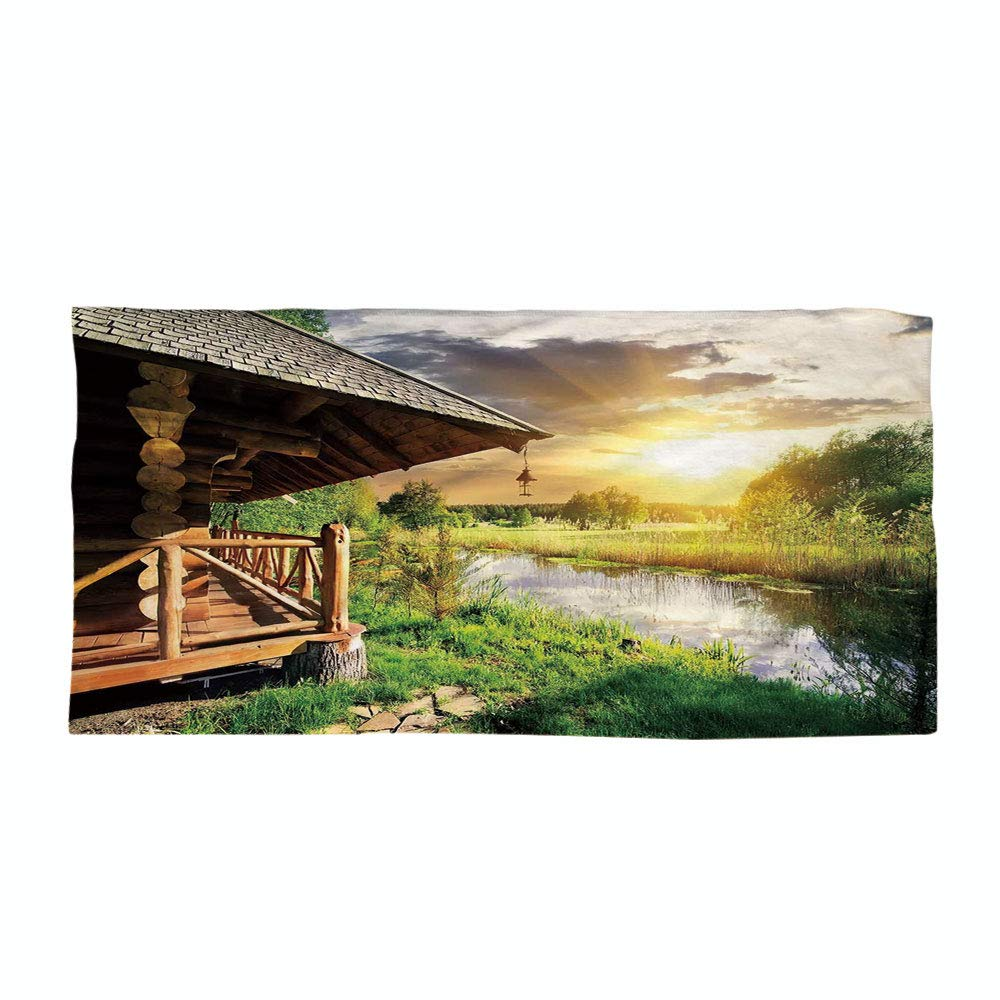 iPrint Cotton Microfiber Beach Towel,Nature,Wooden Country House by The Lake with Horizon Background Village Rural Life View,Multicolor,for Kids, Teens, and Adults