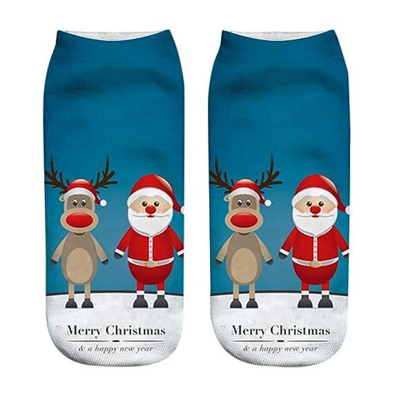 Kinlene Calcetines ocasionales impresos moda divertida unisex de la Navidad 3D Calcetines escotados bajos del tobillo