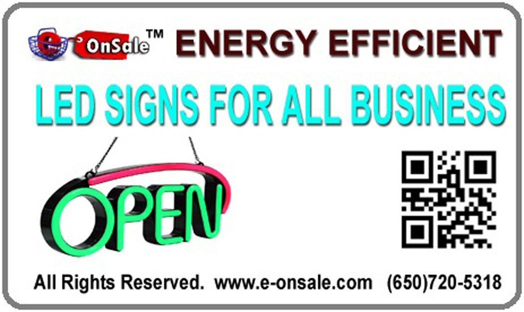 LED Neon Light Open Sign With Animation On/off and Power On/Off two Switchs for Business By ''E Onsale'' L46
