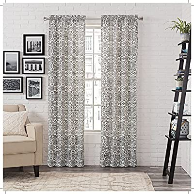 "Pairs to Go Brockwell 2-Pack Window Curtains, 56"" x 95"", Charcoal, 2 Piece - Includes two curtain panels Easy to hang rod pocket construction Poly/Cotton blend - living-room-soft-furnishings, living-room, draperies-curtains-shades - 61goSmCy3AL. SS400  -"