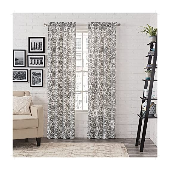 """Pairs to Go Brockwell 2-Pack Window Curtains, 56"""" x 95"""", Charcoal, 2 Piece - Includes two curtain panels Easy to hang rod pocket construction Poly/Cotton blend - living-room-soft-furnishings, living-room, draperies-curtains-shades - 61goSmCy3AL. SS570  -"""